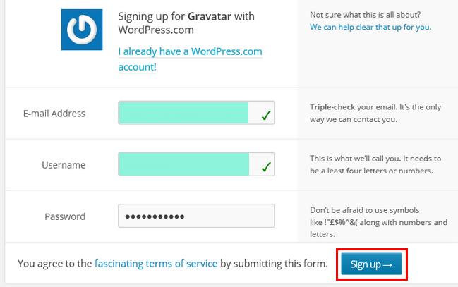 gravatar-wordpress.com登録フォーム