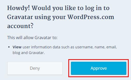 gravatarとwordpress.comの認証画面