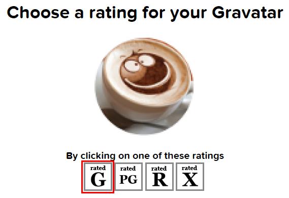 gravatarレーティング選択