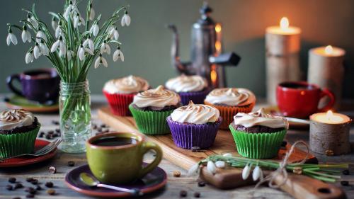 カップケーキ、クリーム、スノードロップ、花、カップ、コーヒー、キャンドル